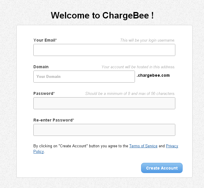 ChargeBee SignUp Fields