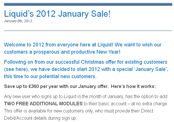 Seasonal Promotion of Liquid Accounts Ltd.