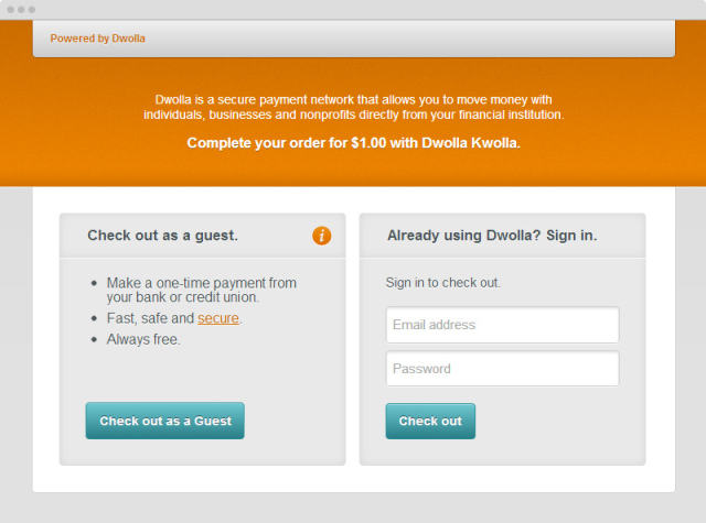 Dwolla Guest Checkout Option