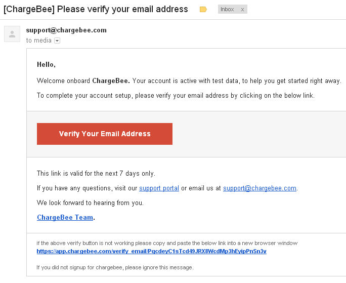 ChargeBee email verification - Link active for 7 days for verification