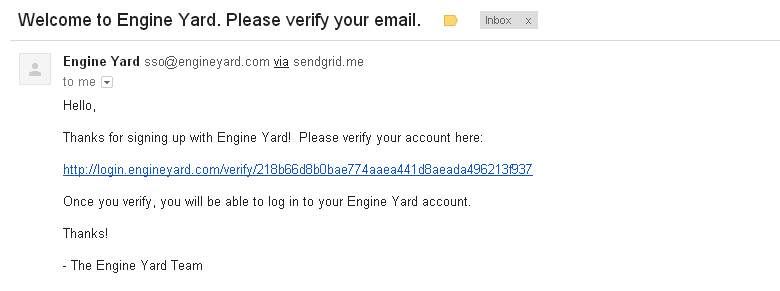 Engine Yard Email Verification