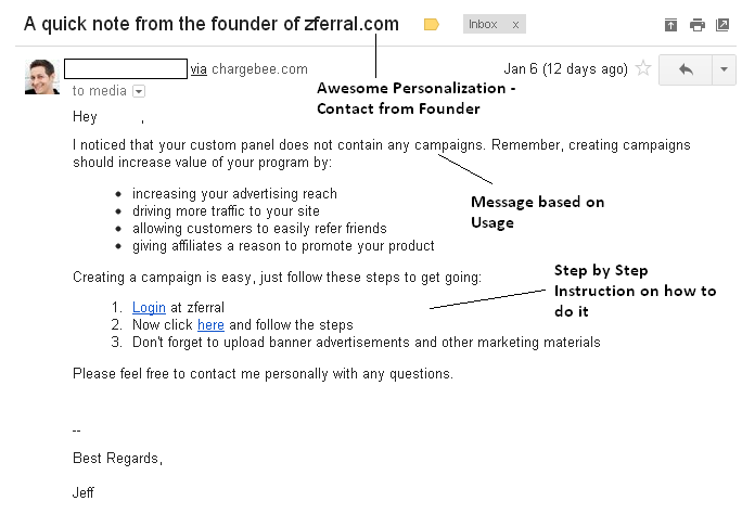 Usage Based email from Zferral