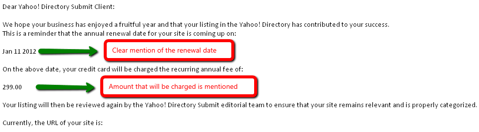 Yahoo - Automated Renewal Notice