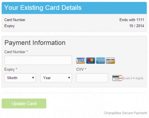 Update Card Checkout Page