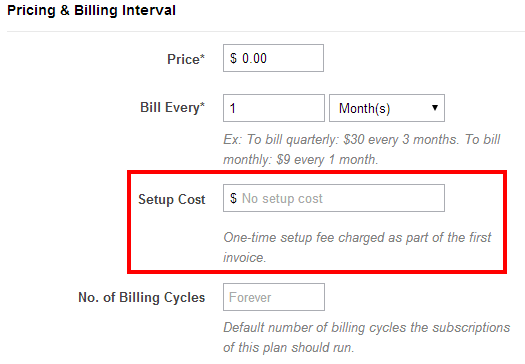 Setup fee with ChargeBee