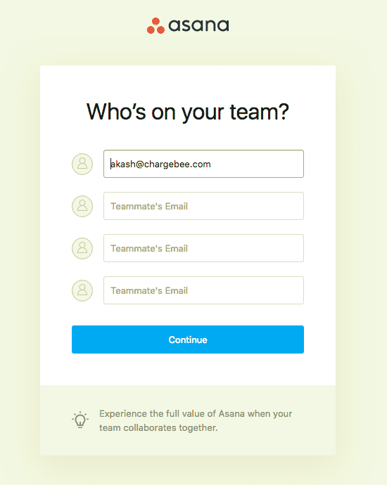 invite users asana user onboarding flow