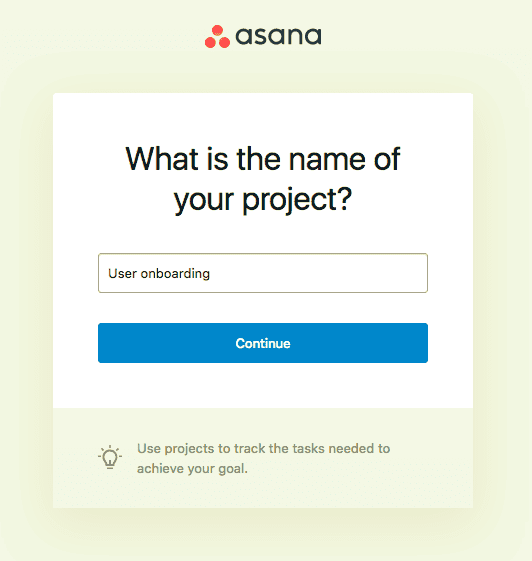 name your project asana user onboarding flow