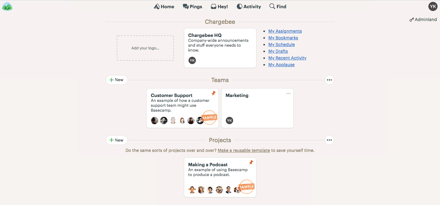 home screen basecamp user onboarding flow