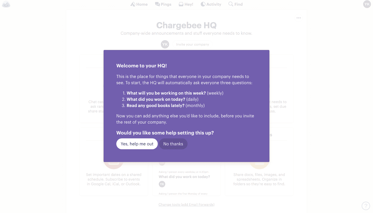 hq screen basecamp user onboarding flow
