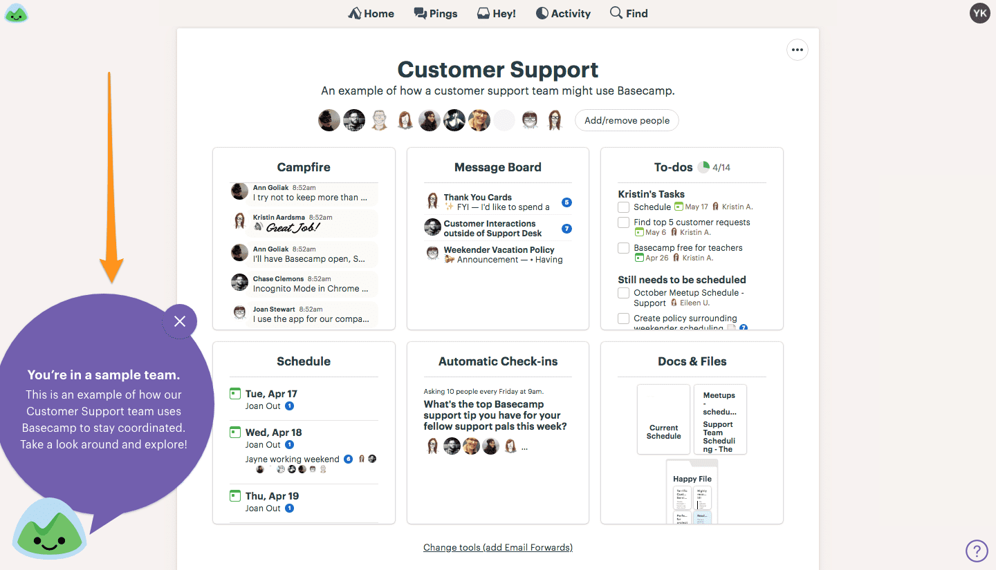 sample project basecamp user onboarding flow