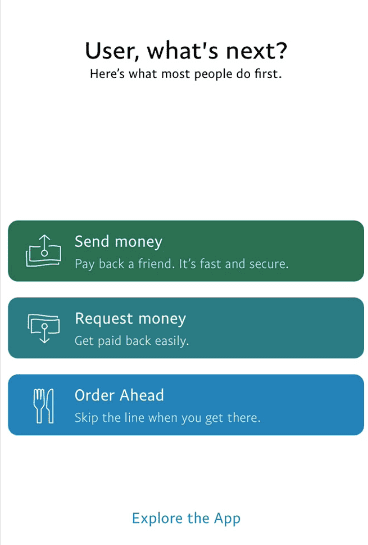 segmented user onboarding action in paypal app