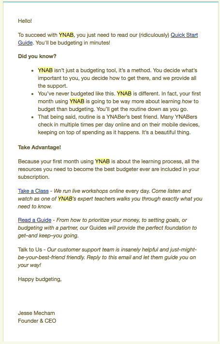 user onboarding email from ynab