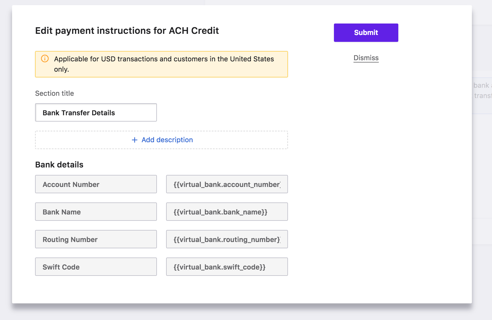 Payment Methods: ACH Credit Transfer via Stripe - Chargebee Docs