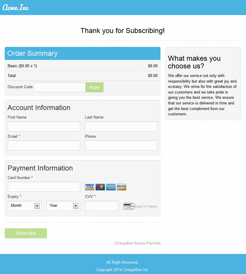 Hosted Payment Pages: Secure Checkout - Chargebee Docs