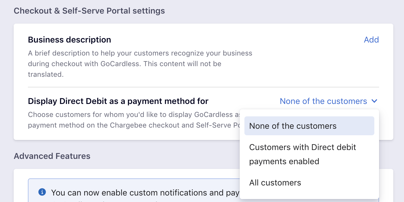 Payments via GoCardless - Chargebee Docs