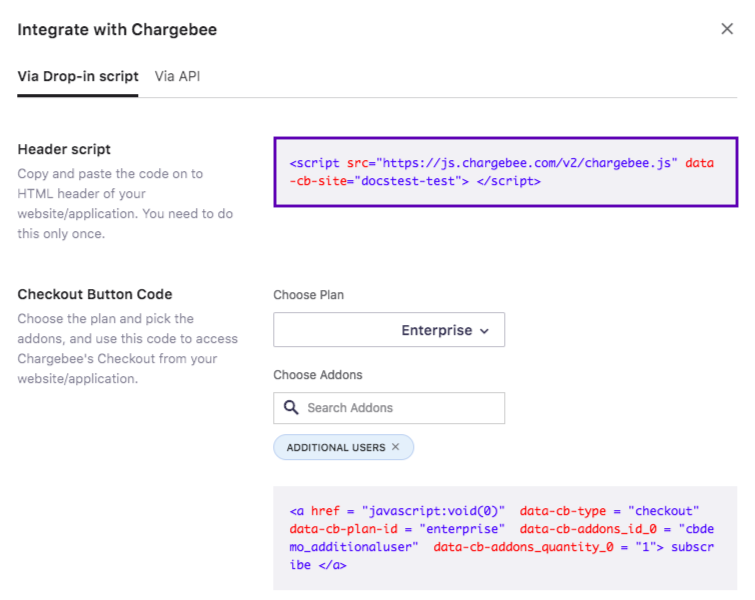 In-App Checkout - Chargebee Docs