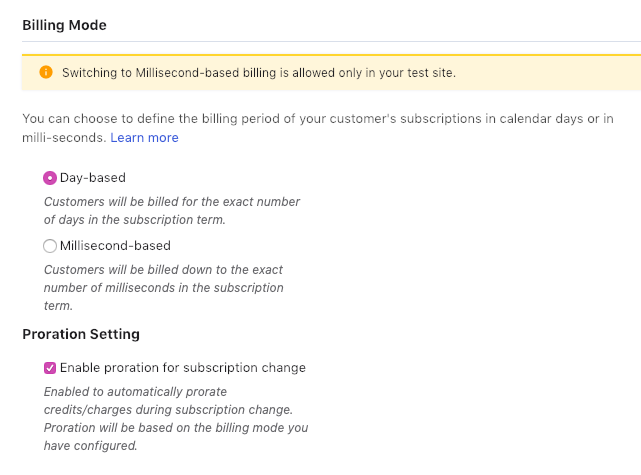 Billing Mode & Proration - Chargebee Docs