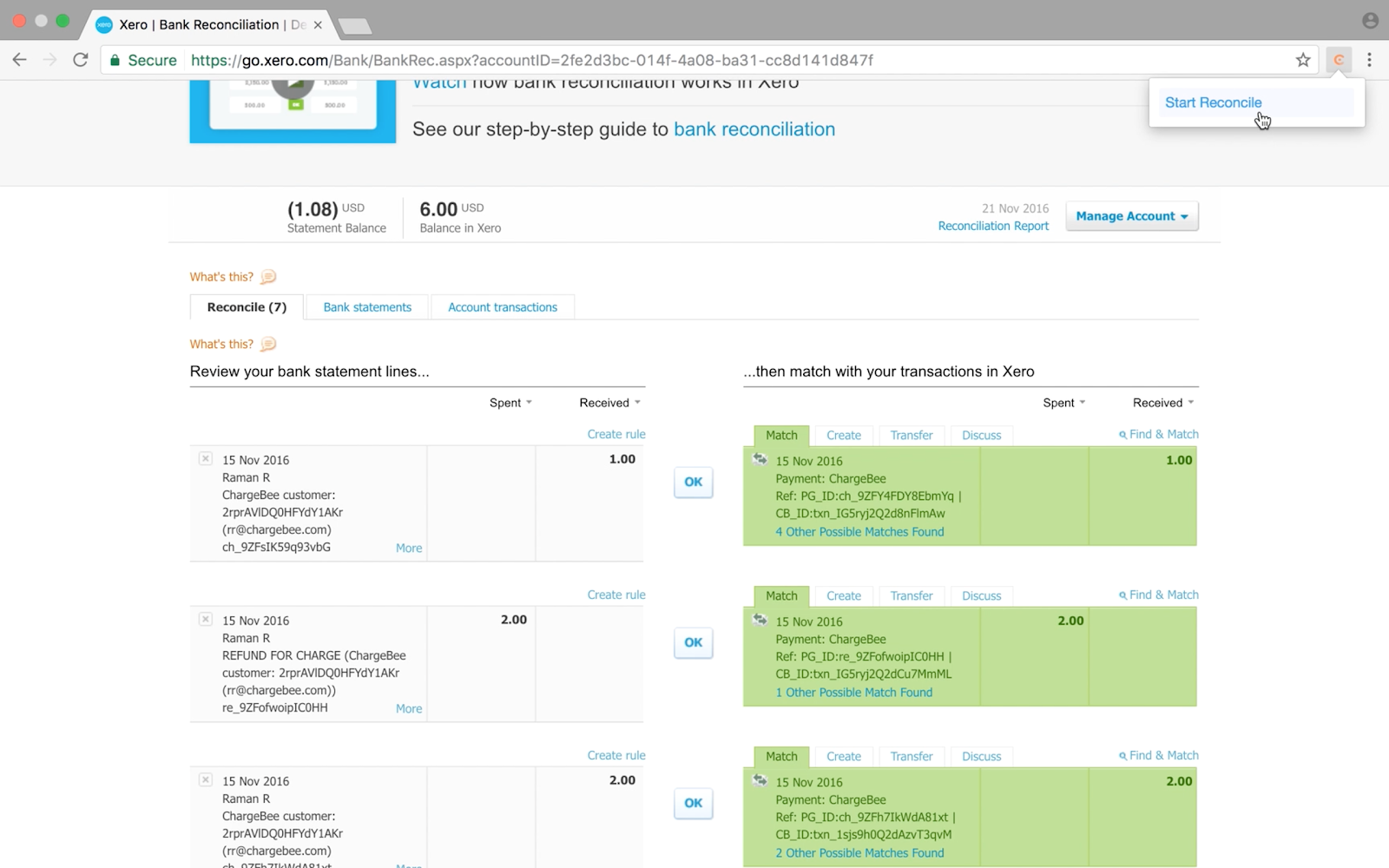 Accounting Reconciliation in Xero - Chargebee Docs
