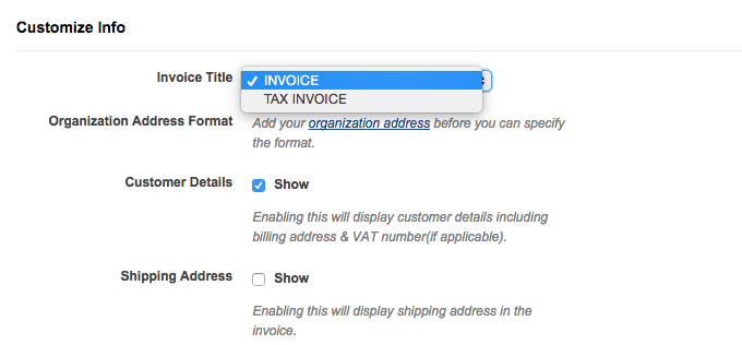 In Your Chargebee Web Interface, Invoice Title Can Be Changed Under  Settings U003e Site Settings U003e Customize Invoice Under The Customize Info  Section As Shown ...  Customize Invoice